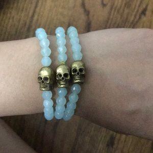 Handmade set of 3 gemstone skull bracelets